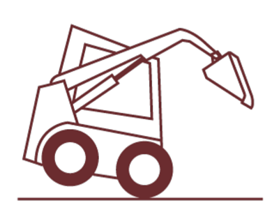 icon of a skid steer with bucket